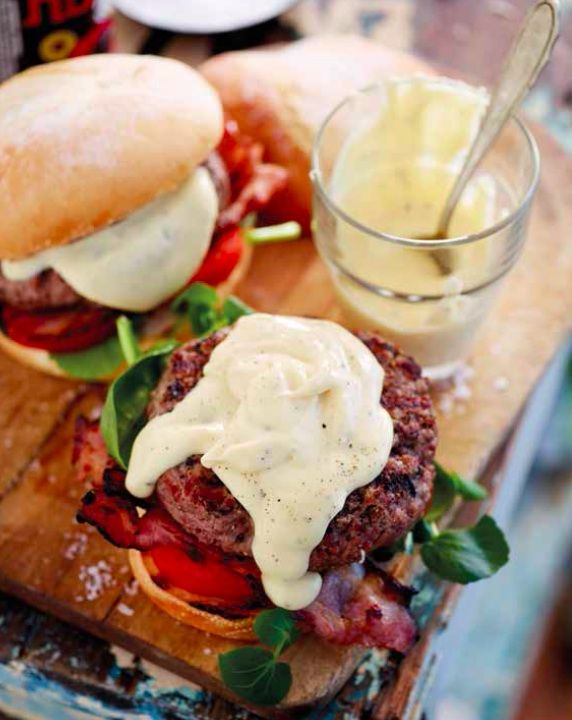 Celebrate Braai Day right: Burger with bacon and a cheese sauce from braai.com.