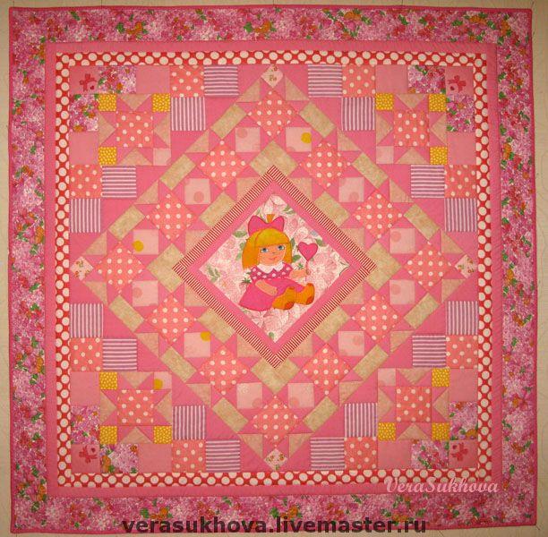 """Купить Розовое лоскутное одеяло для девочки """"Куколка моя"""" - для девочки, для новорожденных, пэчворк, печворк"""