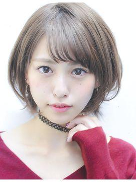 ディテクト(DETECT)大人可愛い斜め前髪ショートボブヘア☆グレージュ透明感カラー