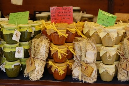 How many different types of pesto are there? Verona food fair in Piazza Bra over the Easter weekend.