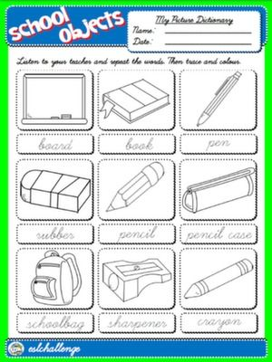 #CLASSROOM OBJECTS - PICTURE DICTIONARY (B&W VERSION)