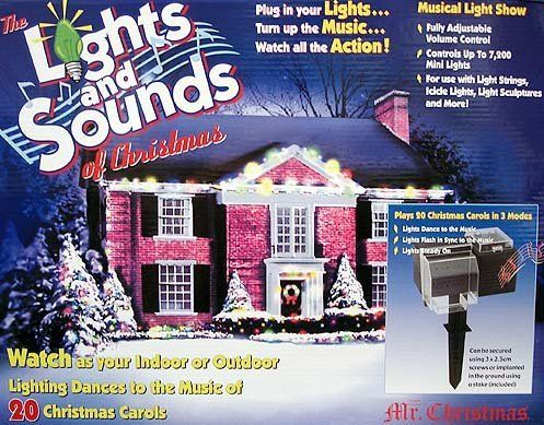 "Mr. Christmas ""The Lights and Sounds of Christmas"" Musical & Motion Show #67791 by Mr. Christmas. Save 16 Off!. $159.99. Lights and Sounds of Christmas Light ShowItem #67791Add the merry magic of seasonal music to your holiday light displays Watch as your indoor or outdoor lighting rhythmically synchronizes to the music of 20 Christmas carolsFully adjustable volume controlEach outlet can power up to 1,200 mini lights for a total capacity of 7,200 lightsFor use with light strings, i..."
