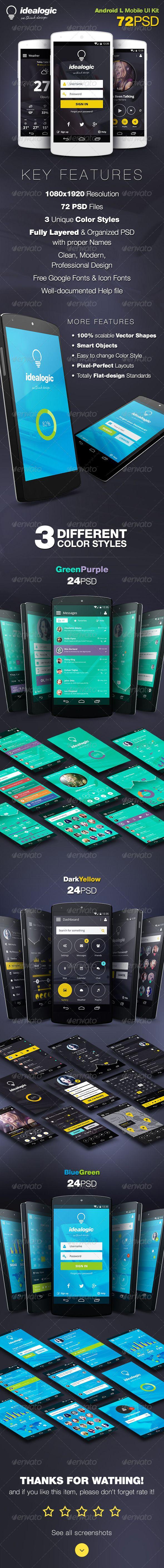 Idealogic - Android L Mobile UI Kit