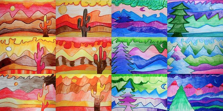 Small landscapes in warm and cool colors