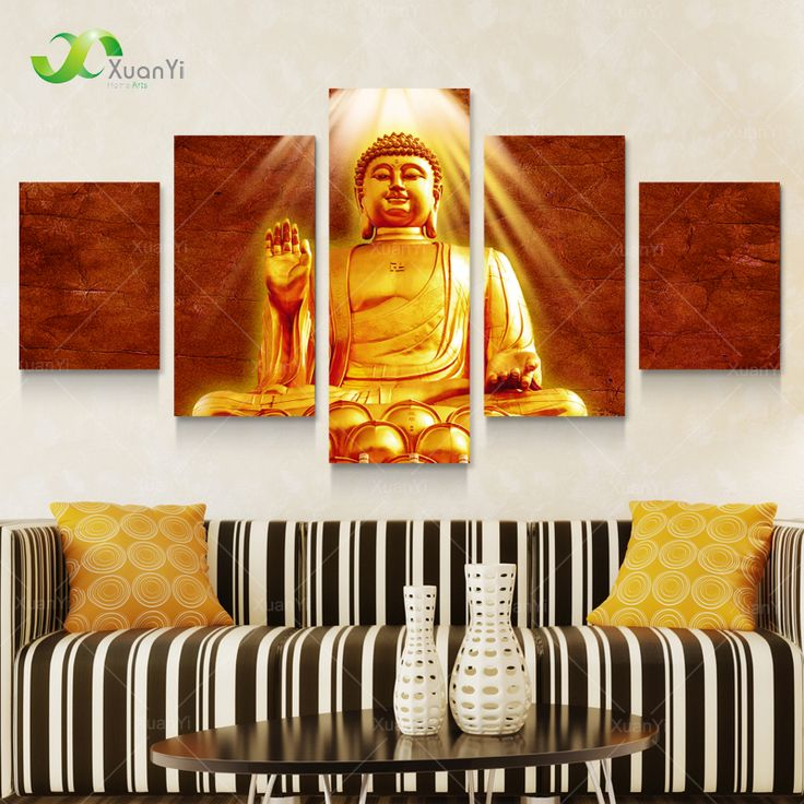 5 Panel Golden Buddha Canvas Painting Cuadros Buda Oil Picture Home Decor  Wall Art For Living Part 70