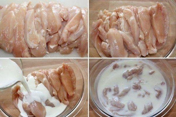 Тушеная куриная грудка в кефире | Школа шеф-повара