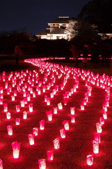 Candle light beautifully colored Kairaku-en Japanese garden in Mito, Ibaraki, Japan