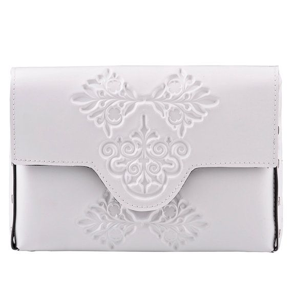 Womans clutch bag small white clutch bag mini by MeDusaBrand