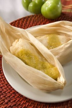 """Authentic Green Chicken Tamale recipe with Tomatillos""...A Mexican tamales recipe is a combination of dough and a filling, cooked inside a cornhusk or banana leaf. The filling might feature fish, chicken, meat, or vegetables. Tamales are one of the tastiest traditional Mexican recipes and they have been made for many years."