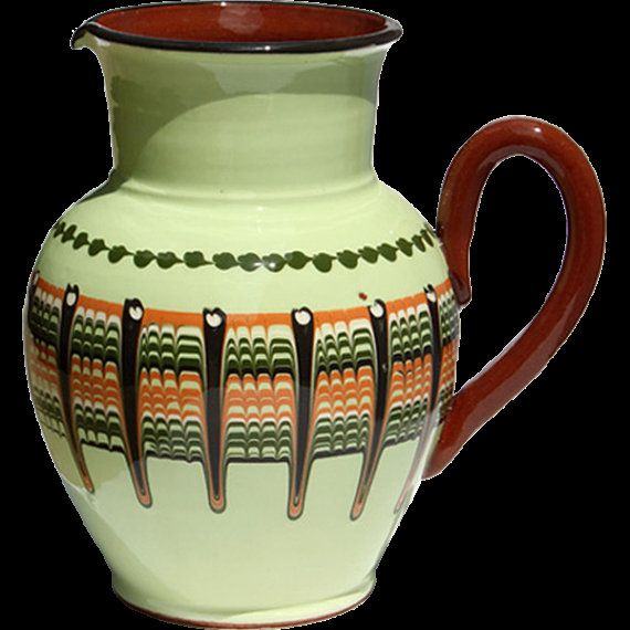1 qt Mint groene handgemaakt aardewerk kruik door bulgarianpottery