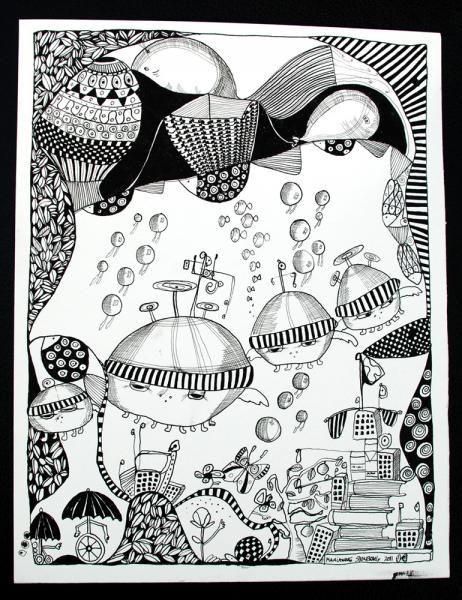 www.artunika.dk / www.artunika.com Sort Hvid #2 - 25 x 32. En original kunst tegning af kunstner Marianne Stenberg. Tegningen kommer ikke indrammet.  Kunstner Marianne Stenberg arbejder primært på papir, hvorpå hun skaber tusch-tegninger med kalligrafi-pen. Steenberg er kendt for hendes st...