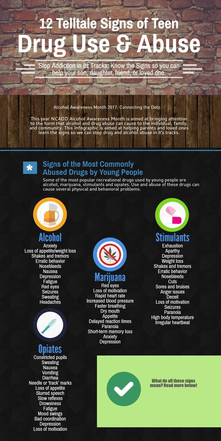 """This month is @NCADD Alcohol Awareness Month. Their theme this year is """"Connecting the Dots."""" Aimed at helping young people understand the dangers of alcohol and drug abuse.  To help spread the word we created this infographic of the 12 Telltale Signs of Teen Drug Abuse. We hope this will help families, friends, and loved ones spot the signs of drug abuse so they can help those that may be struggling with alcohol or drug abuse.  #health #addiction #alcohol #recovery"""