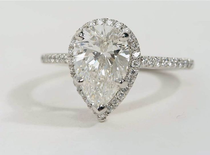 Pear Shaped Diamond Halo Engagement Ring In Platinum Available At Bluenile