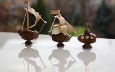 Мини-флот: сувенирные кораблики из желудей