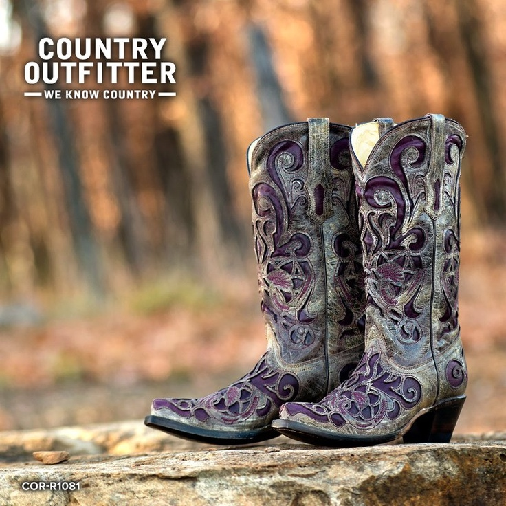 Country Outfitter:  Women's Brown Crater/Purple Inlay Boot - they look purpler here