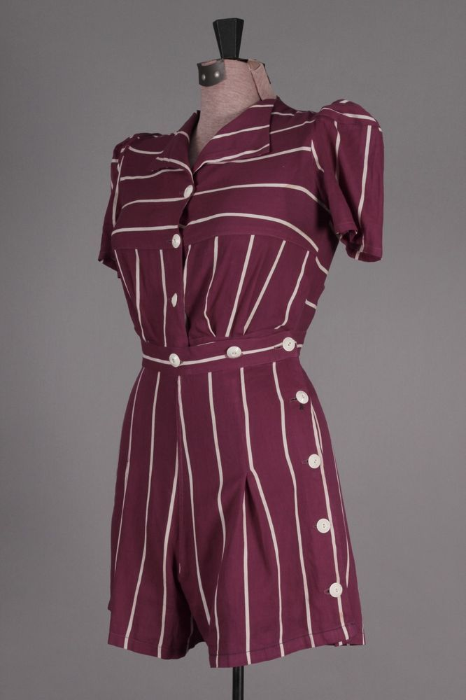 40s VTG Purple & White Striped Romper. Cute vintage jumpsuit! Size S - $69 via eBay