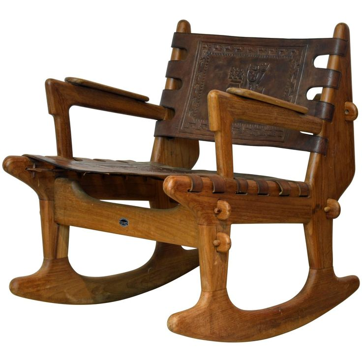Mid-Century Modern Ecuadorian Wood and Leather Rocking Chair by Angel Pazmino | From a unique collection of antique and modern lounge chairs at https://www.1stdibs.com/furniture/seating/lounge-chairs/