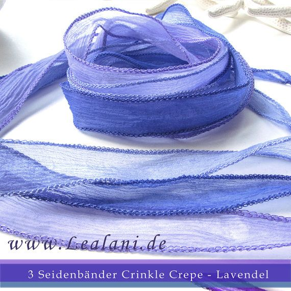 set with 3 silk ribbons crinkle crepe lavender by Schnoerkelwerk