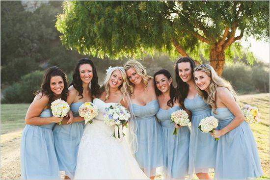 in san luis obispo powder wedding and light blue bridesmaid dresses