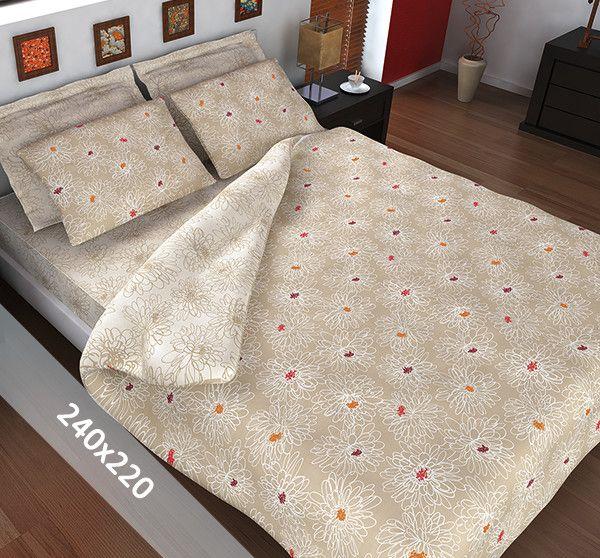 Sofiben dekbedovertrek 'Bloem'. Een lits-jumeaux (240x220 cm) dekbedovertrek van 70% katoen en 30% polyester, voorzien van een rits. Het dekbedovertrek is voorzien van een zandkleurige basis met daarop getekende bloemen.