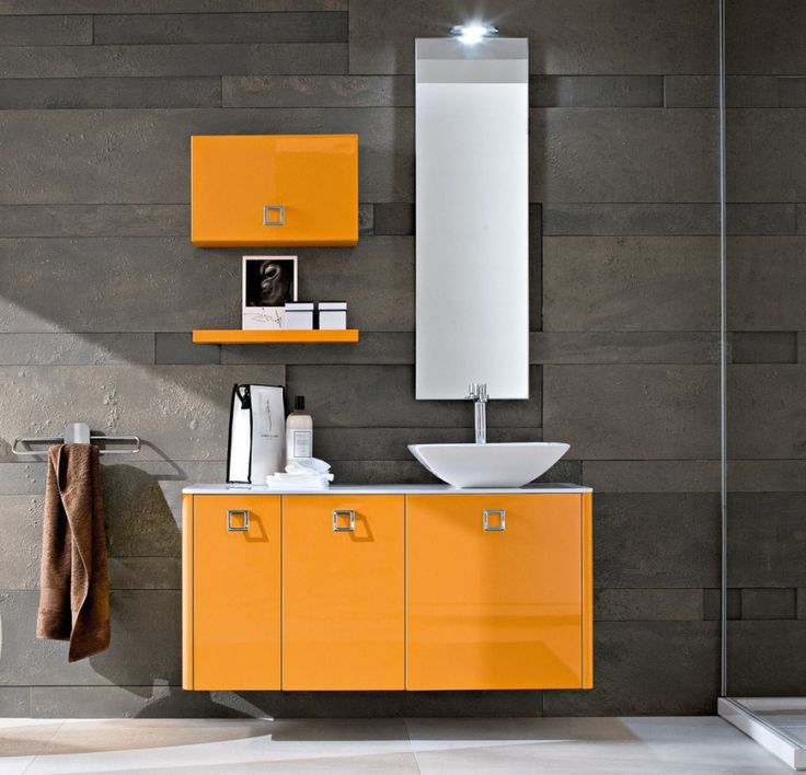 Charming Pics Of Small Bathrooms Ideas With High Glossy Orange Wooden Floating Sink Vanities And Attractive Square Handle Pulls Equipped White Granite Top Having White Porcelain Washbawl As Well As Vanities For Small Bathrooms And Modern Bathroom Vanity, Stupendous Vanities And Cabinet For Bathrooms Outlet: Bathroom, Furniture, Interior