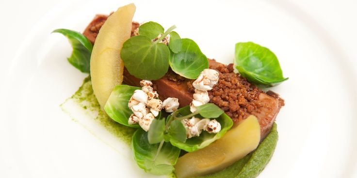 An intricate preparation of duck from Paul Foster includes a dreamily smooth Brussels sprout purée