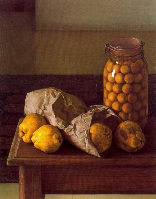 Claudio Bravo: Membrillos (1985)  Óleo sobre lienzo 65 x 52 cm.