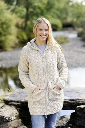 Hooded Coat with Celtic Knot Zipper Natural