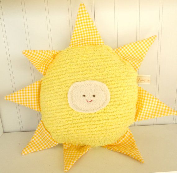 Waldorf Toy Eco Kids Toy Sun Natural EcoFriendly Pillow by woolies, $28.00
