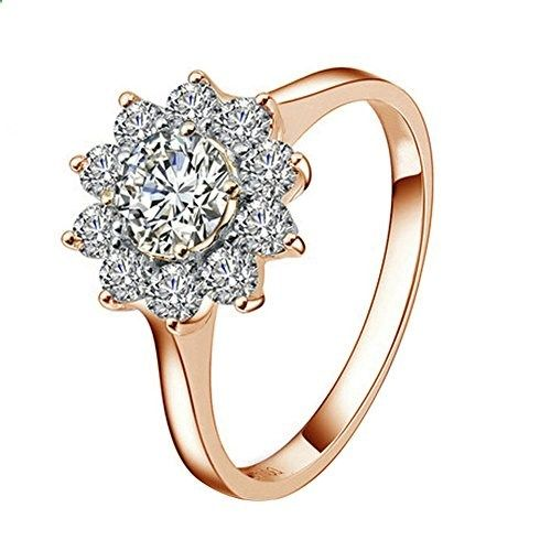 Yoursfs 18k Rose Gold Plated Sunflower Cubic Zirconia CZ Bridal Wedding Jewelry Ring (8). Read more description on the website.