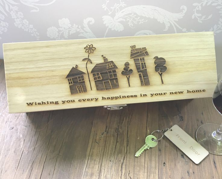 New Home Wine Box, New Home Gift Box, Housewarming Gift, Welcome to New Home, Good Luck New Home, Moving Home Gift, Relocation Gift by LaserAnything on Etsy