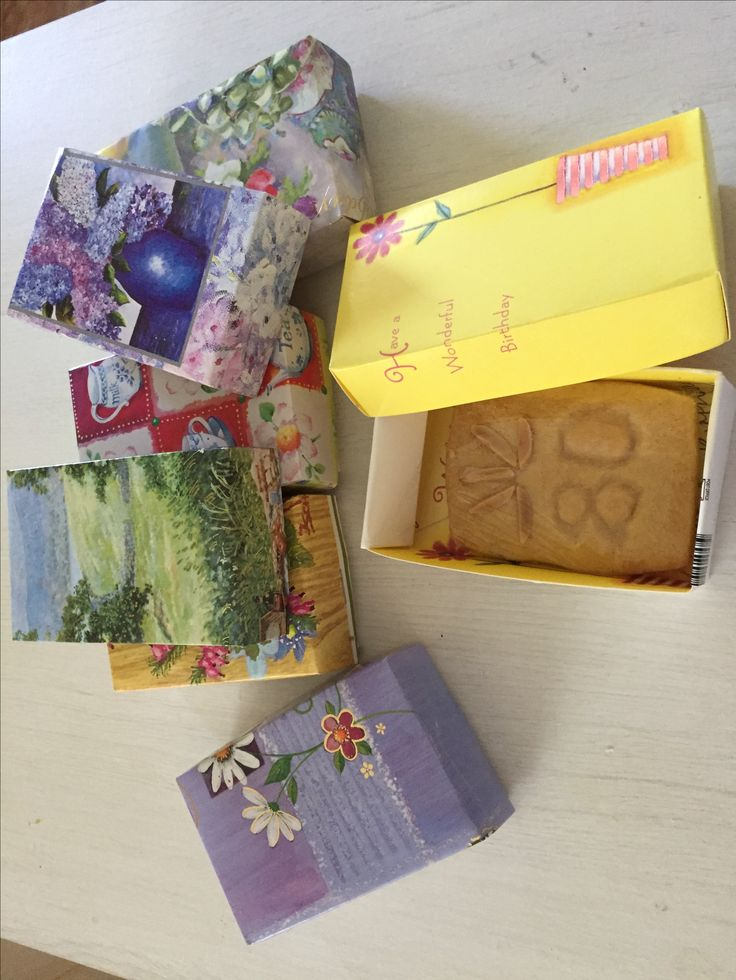 Party treats for guests. Boxes made from mum's old birthday cards and a shortbread biscuit to celebrate mum's 80th birthday