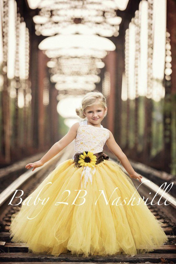 74f06f6953b Flower Girl Dress Yellow Sunflower Dress Yellow Dress Lace Dress ...