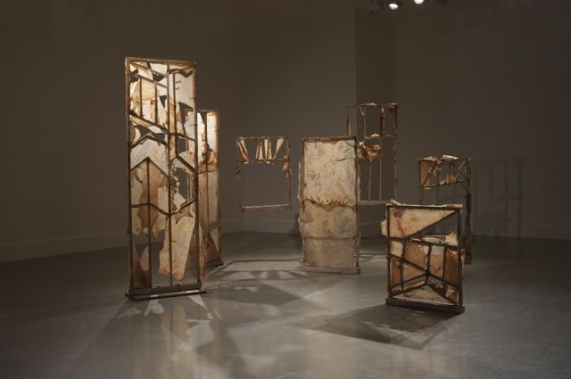 Füsun Onur, Icons of Time, 1990. Installation, 7 pieces: Wood, leather, metal, paint. Photo: Hadiye Cangökçe.