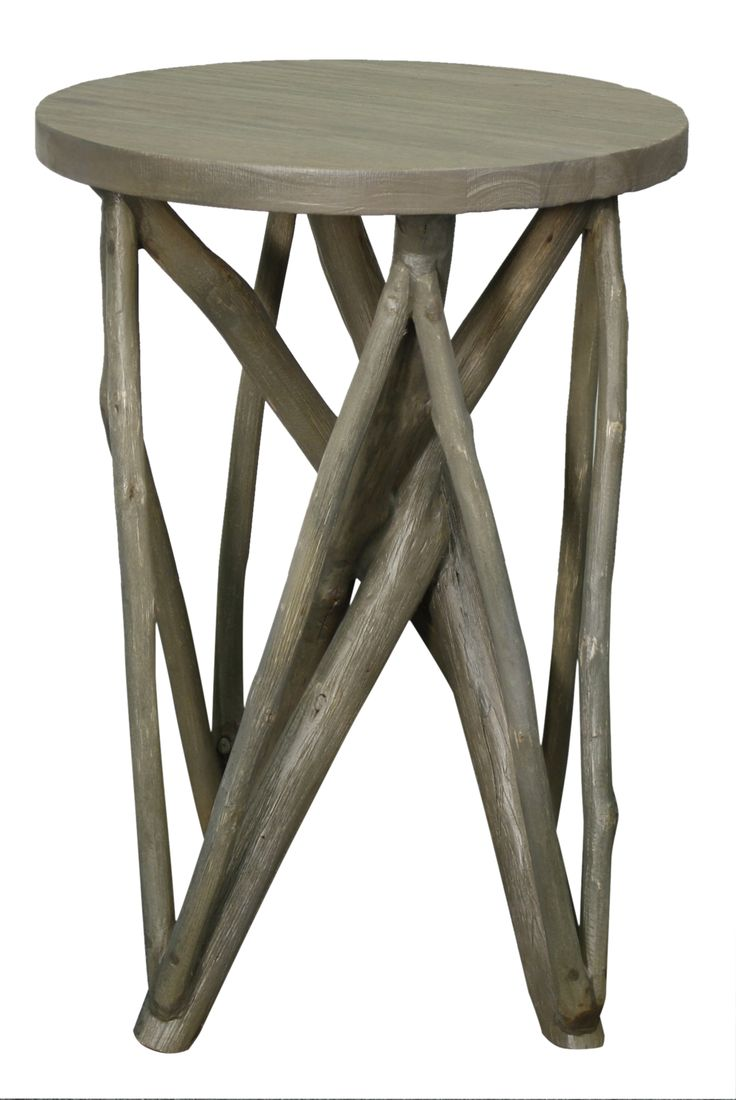 Branch Forest End Table In Washed Gray Color Made From