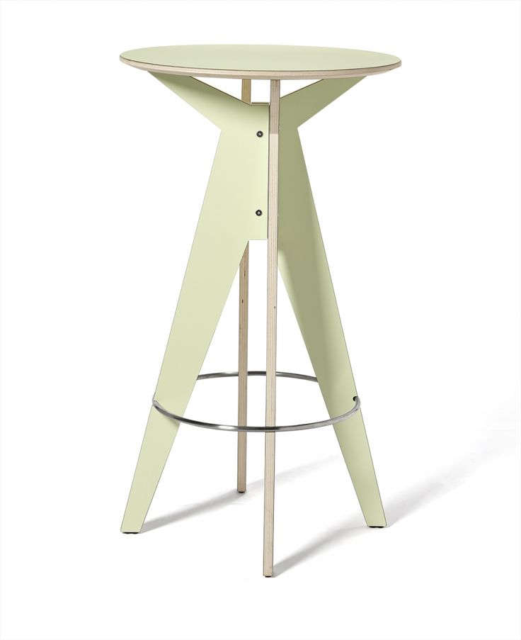"""Bar table Raio. A bar table designated for meeting points such as: cafés, pubs, exhibition stands, or kitchenettes in offices. The key to assuring sturdiness and stability in """"Raio"""" is a steel ring, holding the entire construction. The basic material in """"Raio"""" is homogeneous birch plywood. By combining natural wood with HPL laminate, we obtained a functional surface, which is easy to keep clean."""