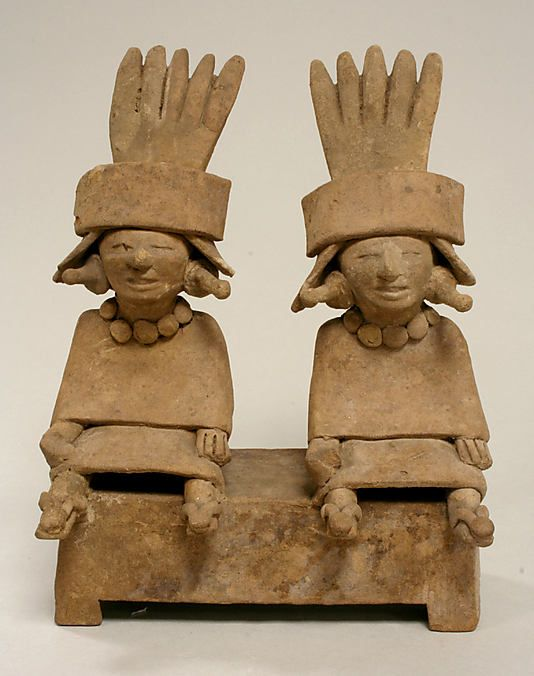 Two Ceramic Figures Seated on a Bench  Date:     6th–9th century Geography:     Mexico, Mesoamerica, Veracruz Culture:     Remojadas