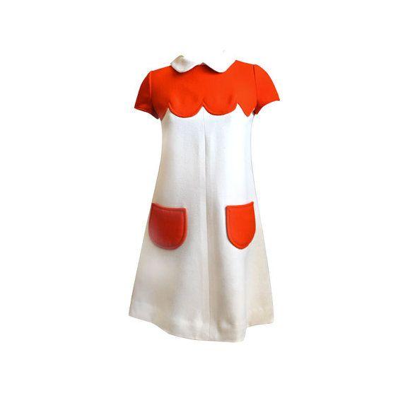 Mod jurk zachte wol 60s vrouwen kleding door swingingchicksshop