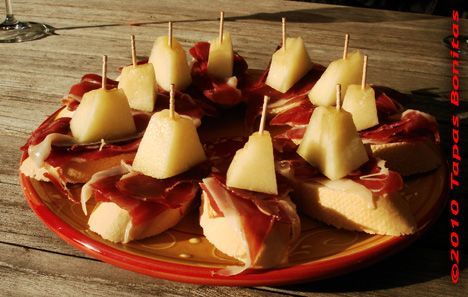 Photo of Basque Pintxos with Iberico Ham and Melon on Bread