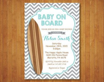 Surf Baby Shower Invitation Vintage Style  Baby on Board
