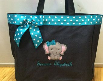 Personalized Baby Girl Elephant Diaper Bag by ErikasEmbroidery