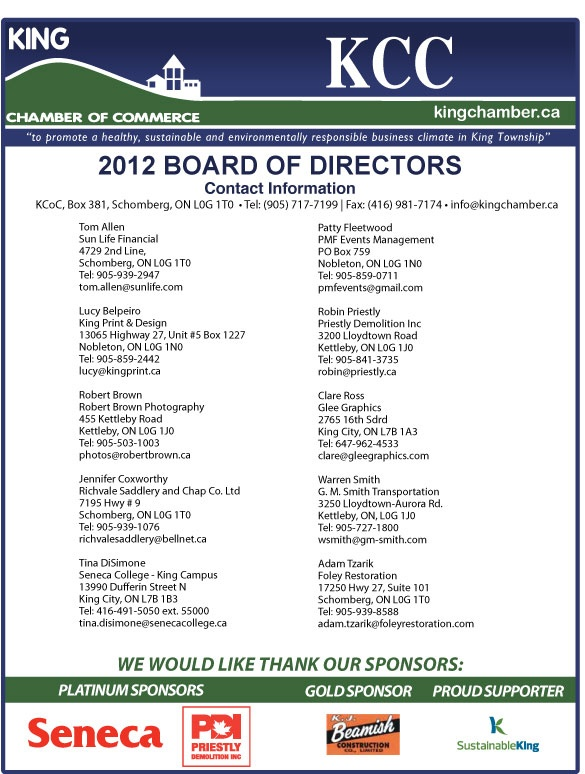 Board of Directors » King Chamber Of Commerce - yes, we also have representation on the King Chamber of Commerce Board of Directors!