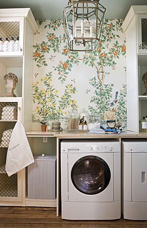 Small wallpapered area in laundry room