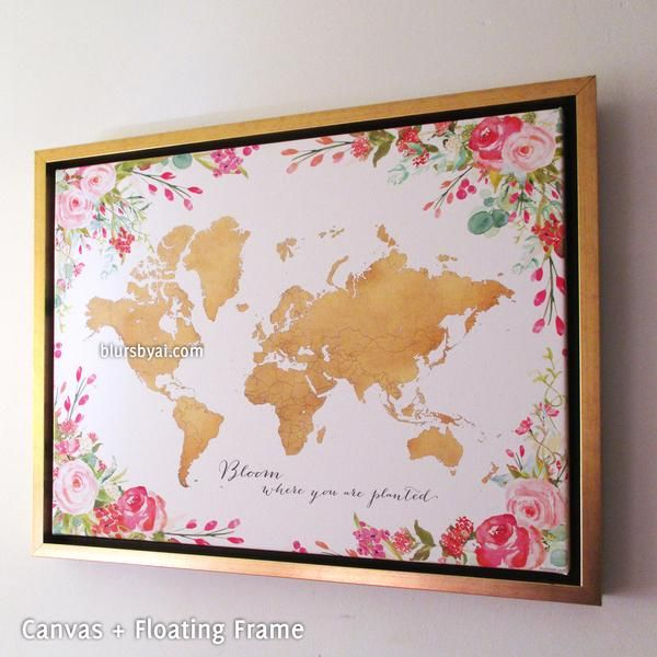 Framed gold world map with watercolor florals canvas print or push framed gold world map with watercolor florals canvas print or push pin map bloom where gumiabroncs Gallery