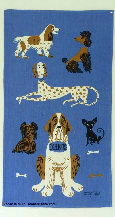 Dog breeds vintage linen tea towel by Tammis Keefe