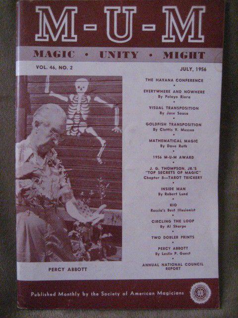 MUM Magic, Unity, Might. Vintage July 1956. Professional Magicians magazine