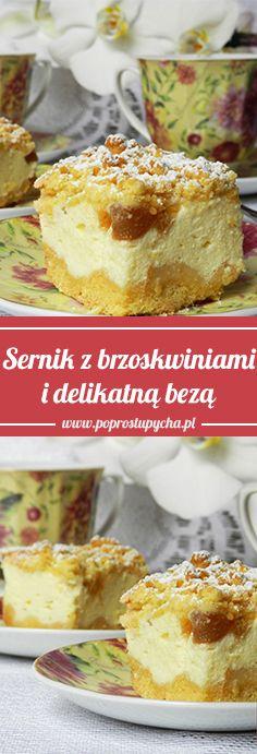 Sernik z brzoskwiniami i delikatną bezą :)  #poprostupycha #sernik #przepis #pycha #jedzenie