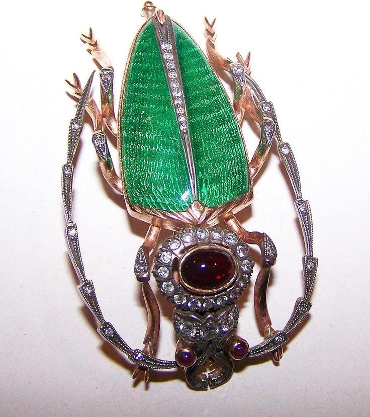 Cerambycidae / Long Horned Beetle Brooch Enamel & Gemstones