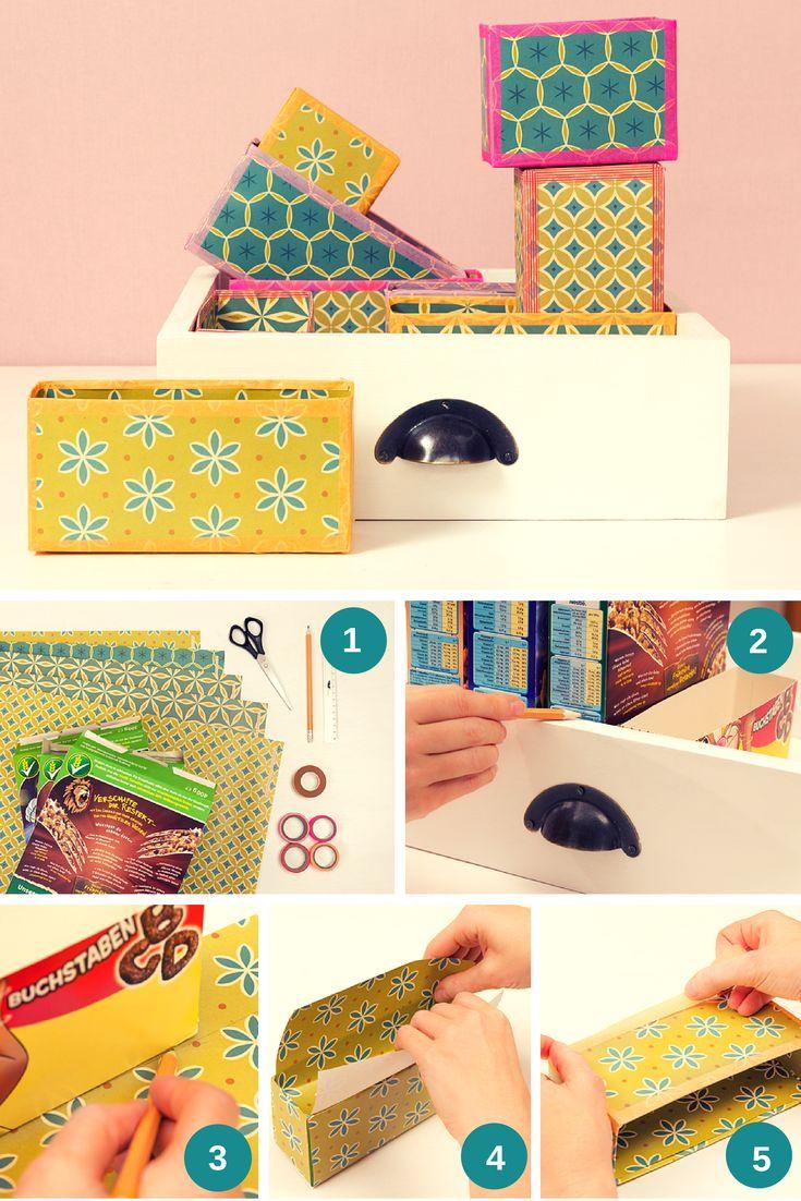 Schachteln basteln: aus alten Müslischachteln bunte Schubladenunterteilungen basteln.