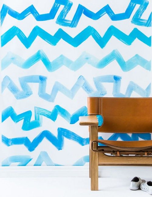 Sarah Ellison Wallpaper —blue zigzag